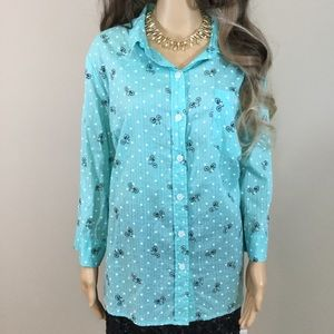 Karen Scott Bicycle and Polka Dot Oxford Shirt